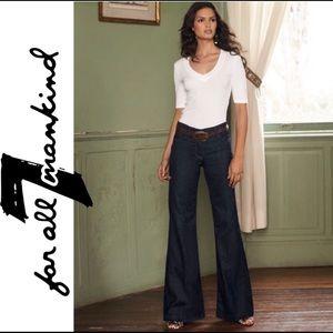 7FAM • Dark Blue Ginger Wide Leg Trouser Denim